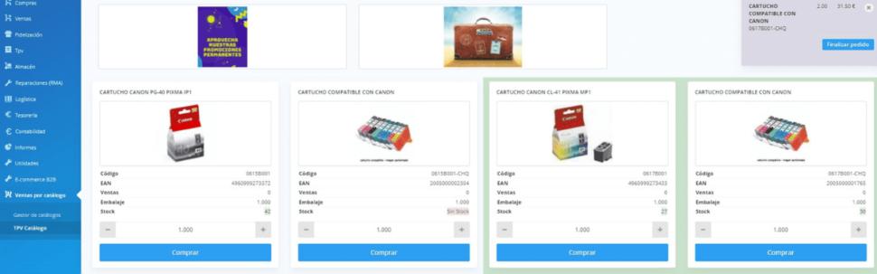 Fichas de producto en catálogo de venta